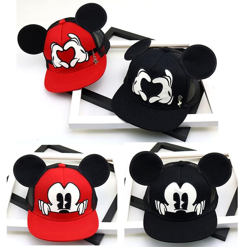 Fashion Cartoon Kids Hat Boy And Girl Baseball Caps Cute Mouse Mickey Baseball Hat With Ears Flat Baseball Cap Baby Travel Hats