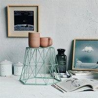 Nordic Style Metal Storage Baskets Multi Use Sundries/Clothing/Toys Storage Basket Creative Green Color Geometric Shape Decor