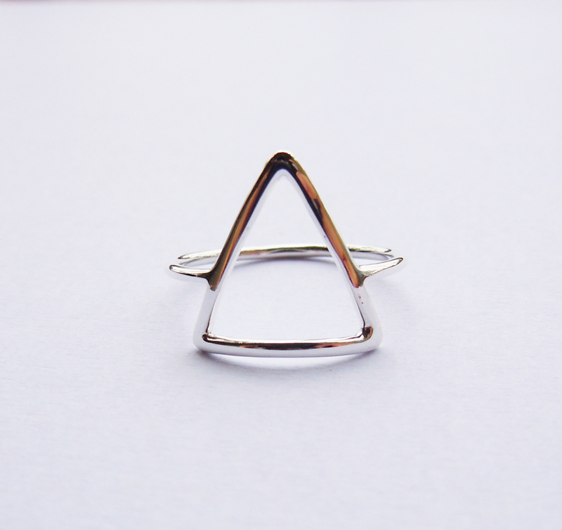 Solid Sterling Silver Simple triangle font b ring b font Handmade All Sizes 4 to 16