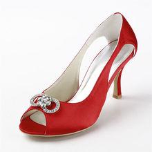 Herbst sommer rote hochzeit fersen schuhe sandalen peep toe satin party kristall sandalen high heel pumpe schnalle stilettos RR-102 YY