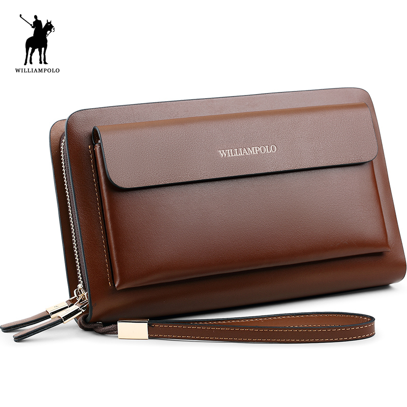 WilliamPOLO 2018 Brand Fashion High Quality Mens Clutch Wallet Luxury Wallet Men Organizer Wallet POLO162