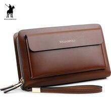 Williampolo 2018 модный бренд Высокое качество клатч мужской кошелек Роскошный кошелек Для мужчин Организатор кошелек POLO162