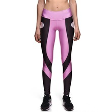 Fitness Leggings Sexy New Women's Pink Purple Simple Color High Waist Digital Print Leggings Fitness Trousers Drop shipping