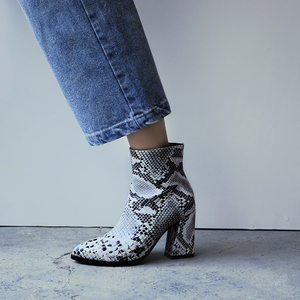 Image 4 - Print Snakeskin Booties Women Ankle Boots Zip Pointed Toe Footwear Thick High Heels Female Snake Boot Women 2020 New g403
