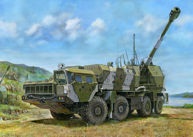 Military Assembly Model Russian A-222 130 Mm Cannon 1:35 Along The Coastal Artillery 01036