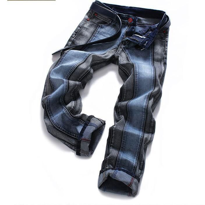 #1502 Skinny jeans men Fashion Biker Slim fit jeans homme Straight Ripped jeans for men Plus size Distressed Hip hop jeans