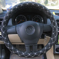 Red wine section splicing steering wheel cover 38 cm diameter Danny leather car steering wheel cover Four Seasons General