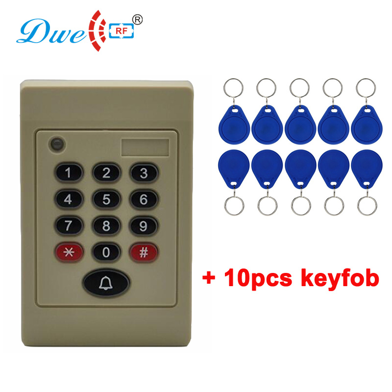 DWE CC RF door access control rfid PIN keyboard proximity card reader with door bell outdoor mf 13 56mhz weigand 26 door access control rfid card reader with two led lights