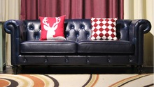 top graded cow real genuine leather sofa sectional living room sofa home furniture couch 3-seater American style leather buttons unique post modern style top graded cow real leather ottoman stool living room home furniture round shape crystal buttons