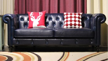 top graded cow real genuine leather sofa sectional living room sofa home furniture couch 3-seater American style leather buttons