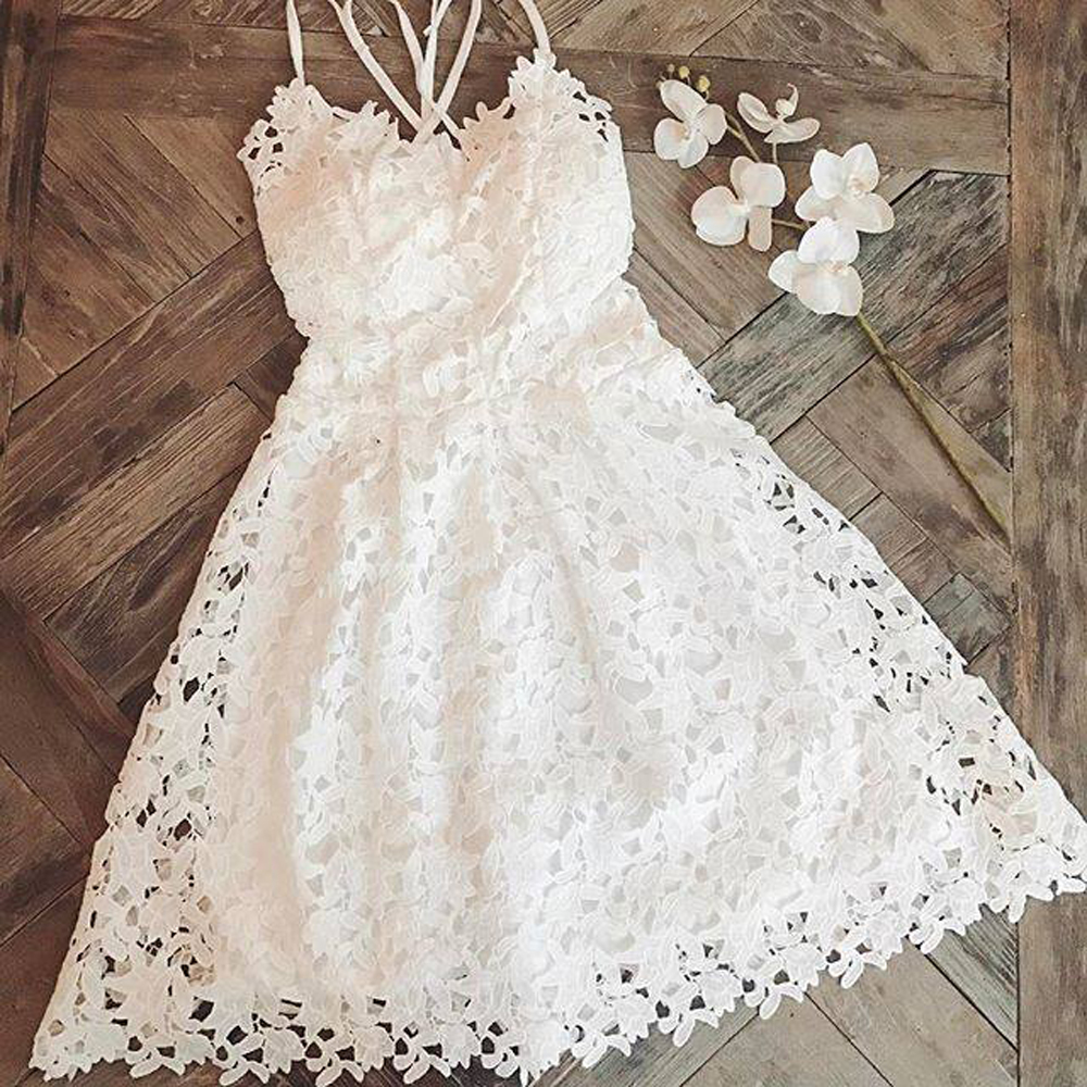 Tosheiny 2020 Women Sexy Halter Lace Hollow Out Off Shoulder Dresses Female Dresses Backless Solid Color Mini Dress TH8295
