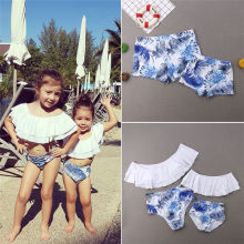 Family Matching Two Pieces Off Shoulder Floral Panties Swimsuit Bikini Set Mother Daughter Father Son Men Boys Shorts Pants New(China)