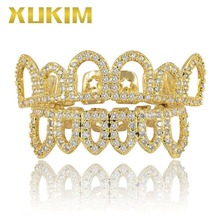 Xukim Jewelry Bing Gold Halloween Top & Bottom Teeth Grillz Hollow AAA Cubic Zirconia Hip Hop Iced Out Rapper Gift