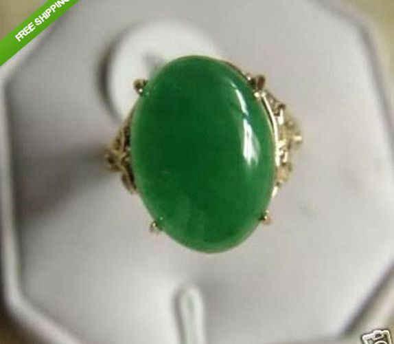 ของแท้หยกสีเขียว 18 K Gold plated แหวน AAA เกรด 3 ขนาดเลือก K06