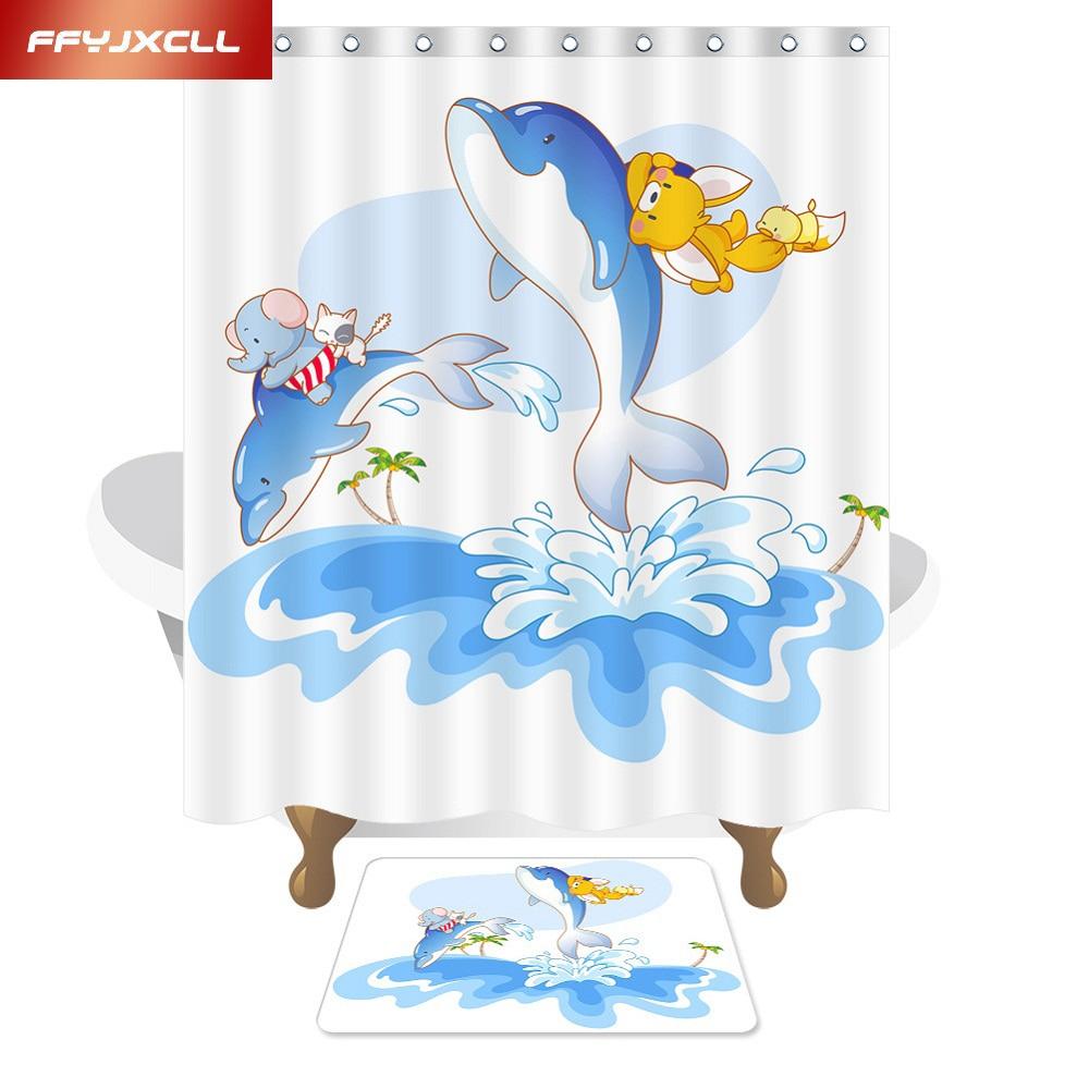 Children Cartoon Elephant Dolphin Polyester Fabric Waterproof Mildew Shower Curtain Eco-Friendly Bathroom Curtain 150x180cm