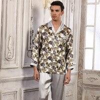 High Quality New Brand Fashion Men Silk Pajamas Long Sleeved Pajama Pants Sets 100 Mulberry Silk