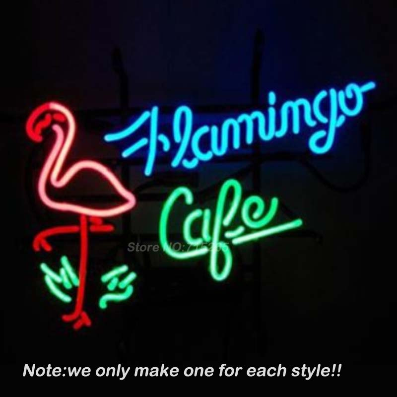 Flamingo Cafe Shop Neon Sign DECORATE Room Design Decorate Restaurant Super Bright Lamp Neon Bulbs Store Display GiftS VD 17x14 neon signs for coffee personal neon bulbs sign handcraft decorate room night light beer pub display warranty sign custom size