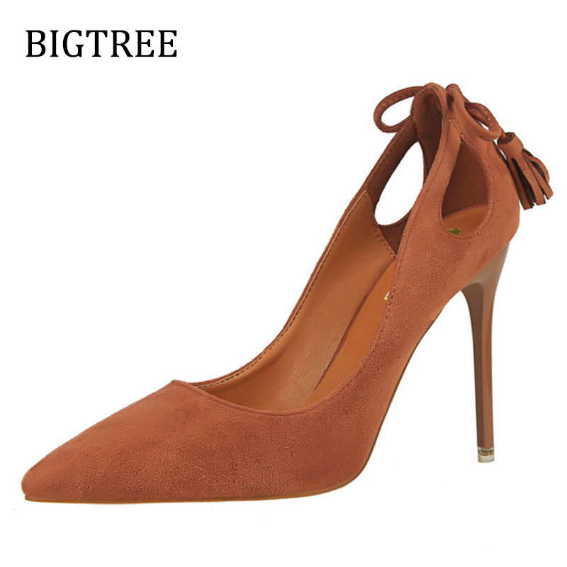 Size34-39 2017 New Pumps Thin Sexy High-heeled Shoes Pointed Suede Hollow Bowknot Tassel Office Elegant Women's Shoes W03168-9 gtime new pumps thin sexy high heeled shoes pointed suede hollow out bowknot tassel ol elegant shallow women shoes zws261