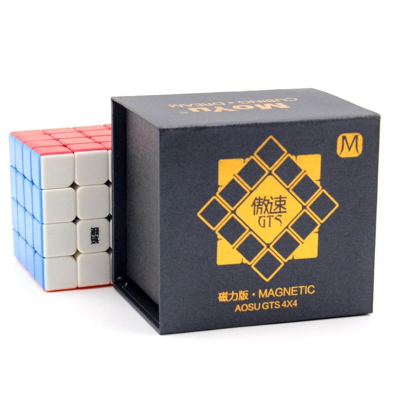 Cube magique 62mm Cube magique noir/sans autocollant demi-brillant MoYu AoSu GTSM 4x4x4 Cube magique pour enfants