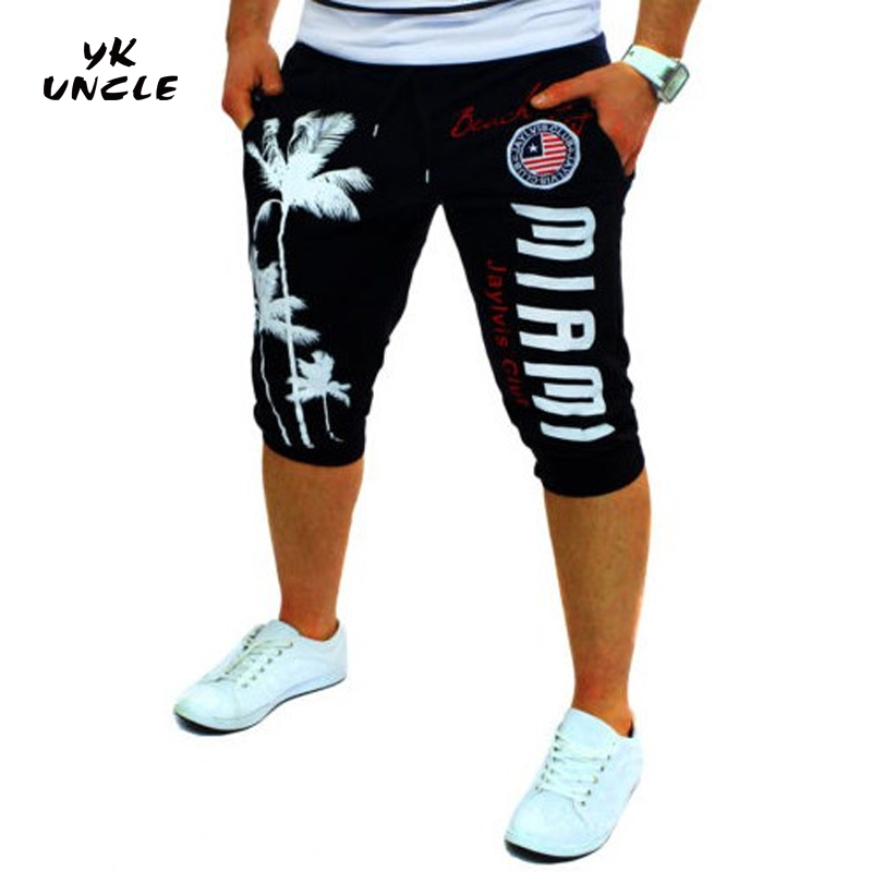 Musculation Men's Casual Shorts Coconut Tree&USA Flag&Letter Printed Fitness Bodybuilding Shorts Cotton High Quality,YK UNCLE