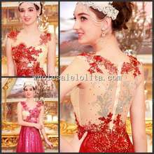 Luxurious Crystal Korean Dress Wedding Toast Gown Evening U-shaped Bandage Red Dress