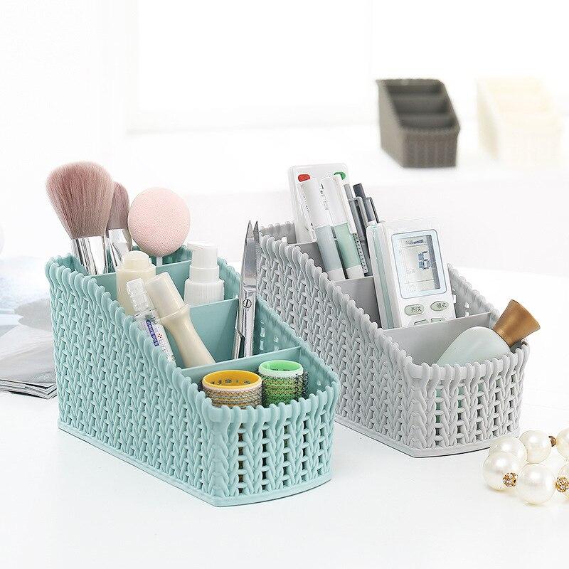 Plastic Desktop Storage Basket Imitation Rattan Office Debris Storage Baskets Cosmetics Remote Control Makeup Tools Organizers