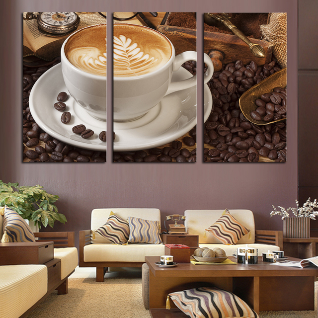 Aliexpress Com Buy 4 Panels Modern Printed Coffee Canvas: 3 Panel Abstract Printed Stil Life Coffee Painting Canvas