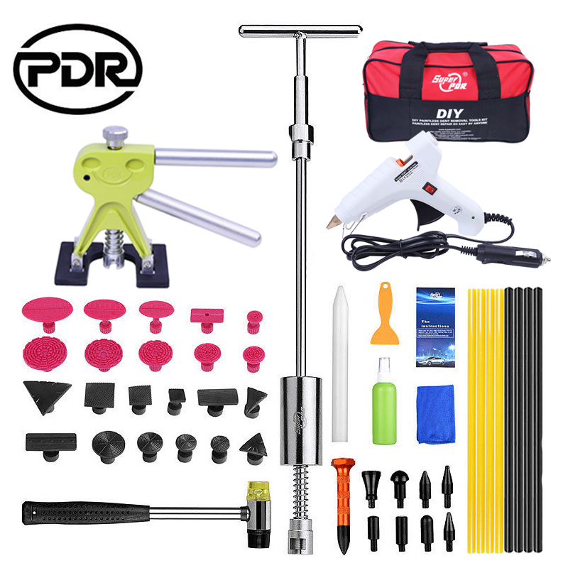 PDR Tools Tool To Remove Dents Auto Tool Set Car Body Repair Kit Dent Puller Kit Reverse Hammer Lifter Removal Glue Gun Suckers pdr tool kit dent removal paintless dent repair tools straighten the dents bridge puller pulling bridge adhesive glue gun tools