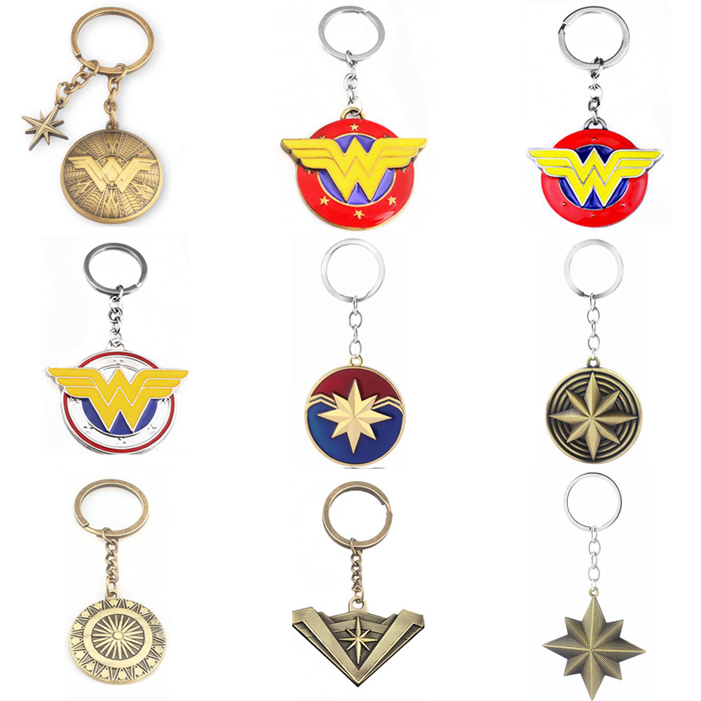 20 Styles Marvel Jewelry Wonder Woman Keychain The Avengers Captain Marvel Shield Key Chain Women Men Car Keyring Chaveiro Gift