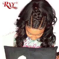 RXY 360 Lace Frontal Wigs For Women Pre Plucked With Baby Hair Remy Malaysian Body Wave Black 100% Human Hair Lace Front Wig