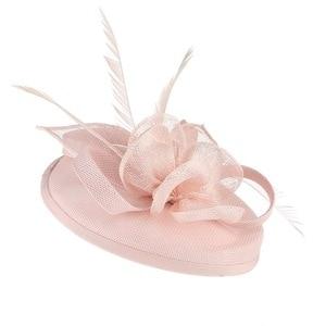Image 2 - GEMVIE Pink Wedding Holiday Mesh Sinamay Fascinator Hat For Women Feather Flower Party Church Tea Derby Fedora Pillbox Hats