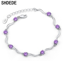 SHDEDE Simple Style Jewelry Mystic Purple Cubic Zirconia White CZ Charm Bracelets For Women Female Ladies Gift +*WHD09