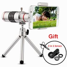 Orbmart Universal 18X Zoom Optical Telescope With Mini Tripod For Samsung iPhone Xiaomi Redmi Note Meizu Mobile Phone Lenses