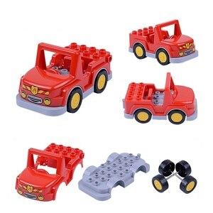 Image 5 - Coche de dibujos animados Compatible con Duploed City, camión agrícola, remolque, avión, modelo de muñeca, bloques de construcción, juguetes educativos para niños, regalos
