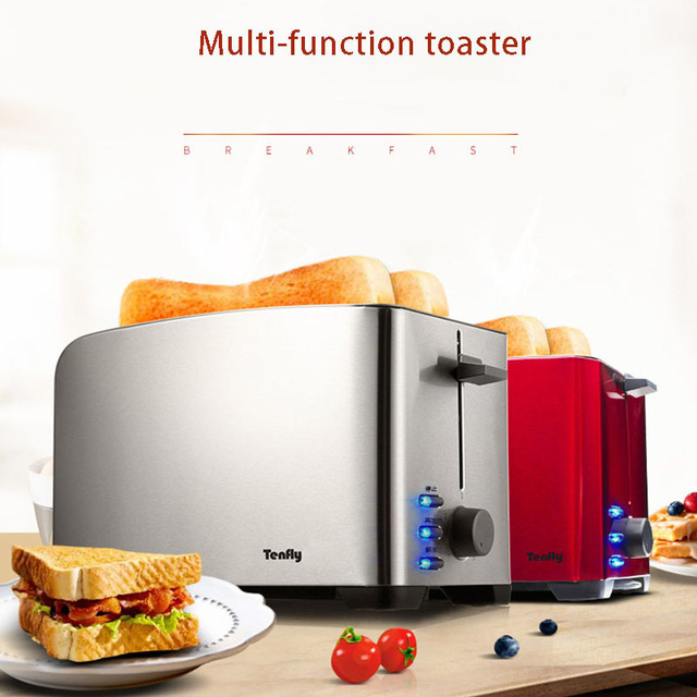 2 Pieces All Stainless Steel Toaster Multi-function Breakfast Machine Automatic Toaster Home Baking Machine 220V 1