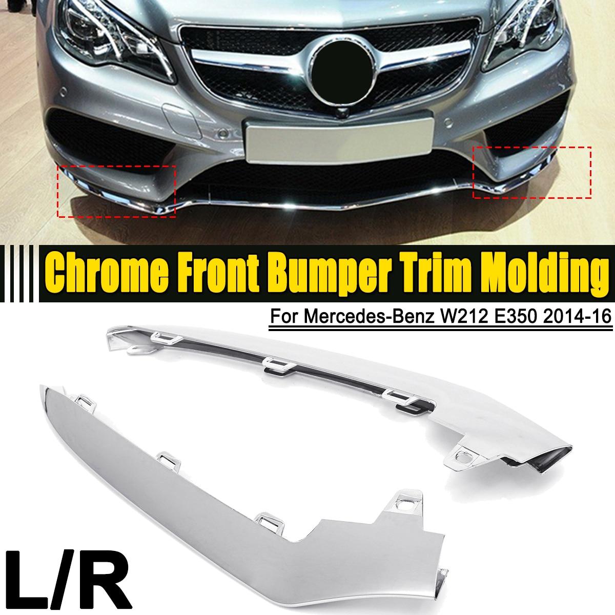Esquerda/Direita ABS Chrome Sliver Front Bumper Capa Guarnição Molding Para Mercedes-Benz W212 E-Classe E350 2014 2015 2016