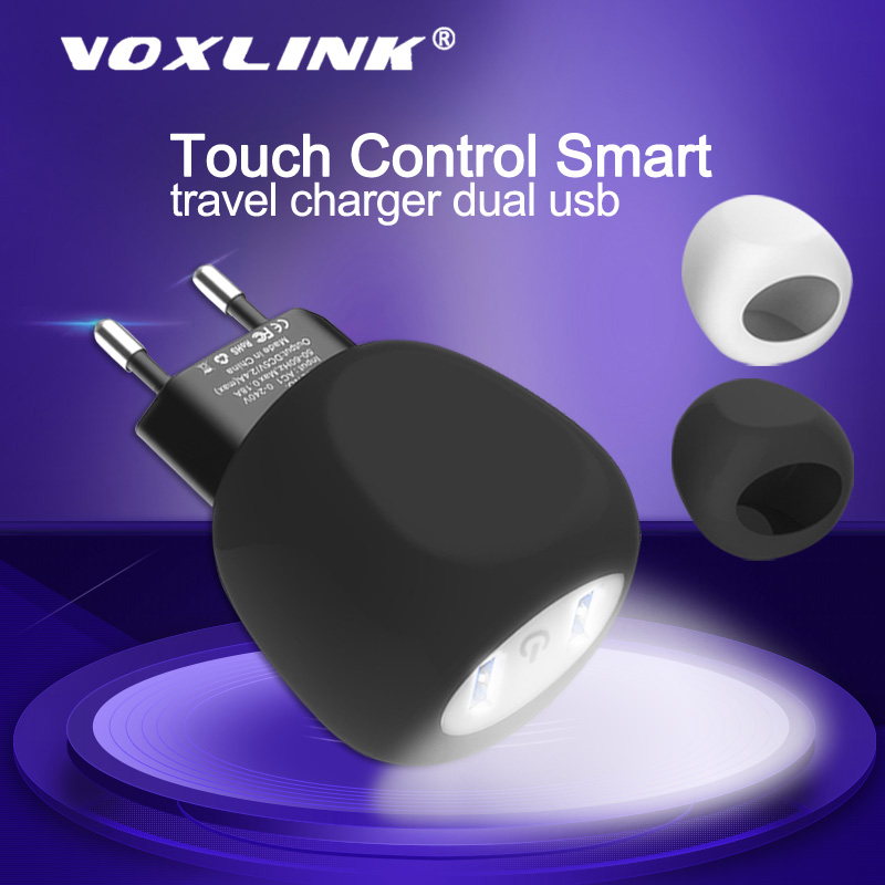 VOXLINK 5V2.1A LED Touch Control Smart travel charger dual usb inductive Charging For iPhone Samsung Xiaomi Mobile Phone Charger-in Mobile Phone Chargers from Cellphones & Telecommunications