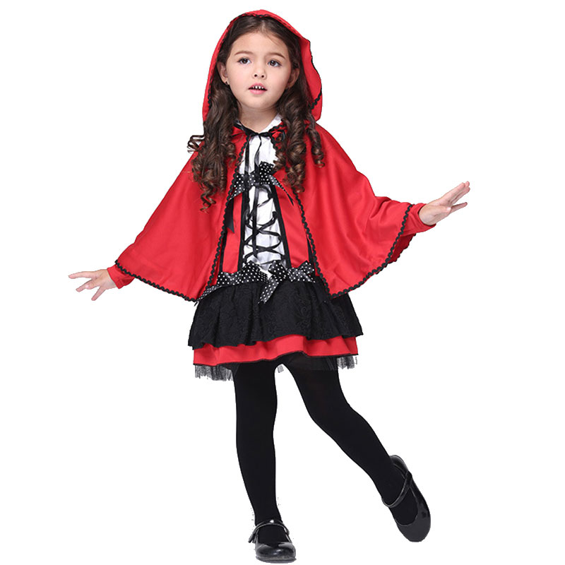 Magical Doropie Faerie Girls Cosplay Costume With Red Cloak Dress Kids Hoodwinked Little Red Riding Hood Dress Up