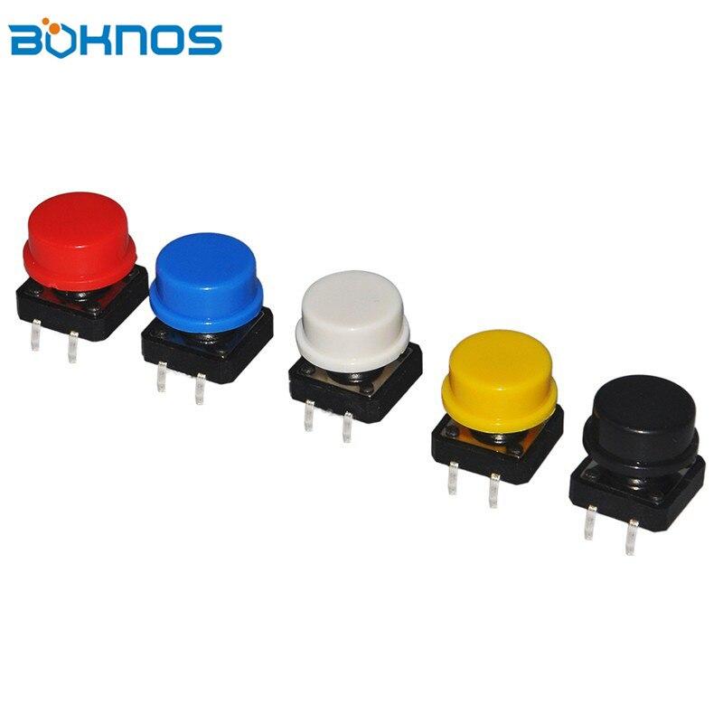 5 видов цветов Keycap 25 шт. Тактильные Кнопочный переключатель мгновенного 12*12*7.3 мм Micro кнопка включения Ассорти Комплект для Arduino Raspberry Pi 3