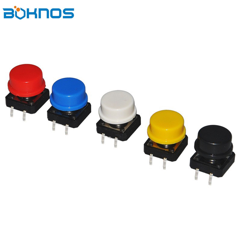 5Color Keycap 25Pcs Tactile Push Button Switch Momentary 12*12*7.3MM Micro Switch Button ...