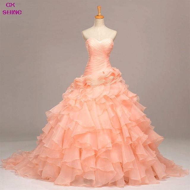 CX SHINE Long train Lujo Princesa Organza vestido de novia ...