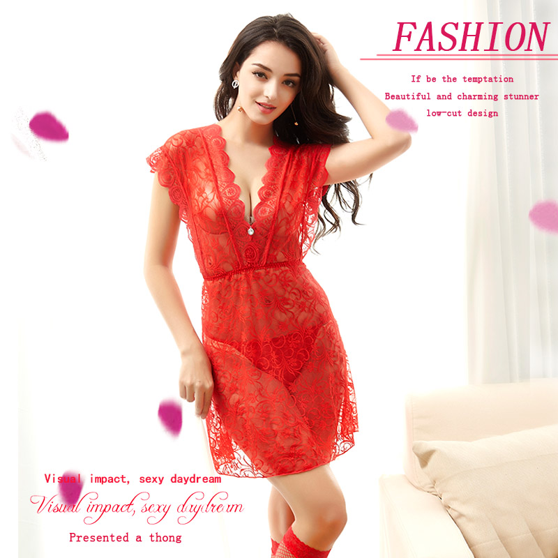 Hot 2017 New Women Sexy Nightwear Floral lace dress,breathable and light night skirt Nightgown Sleepwear Dress Robe Wholesales