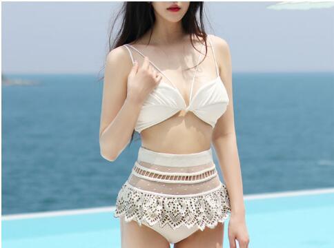 2016 new arrival sexy bikini set lace edge skirt high quality high waist maillot de bain femma biquini soft bra-pad underwire