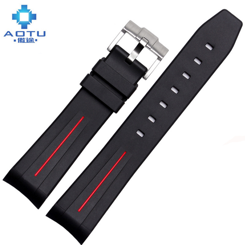 Rubber Watchbands For Rolex Diving Watch For Water Ghosts Belt Men Silicone Watch Strap For Rolex Sport Band Correas Para Reloj men s 18k yellow gold rolex inspired 8 5mm comfort fit wedding band