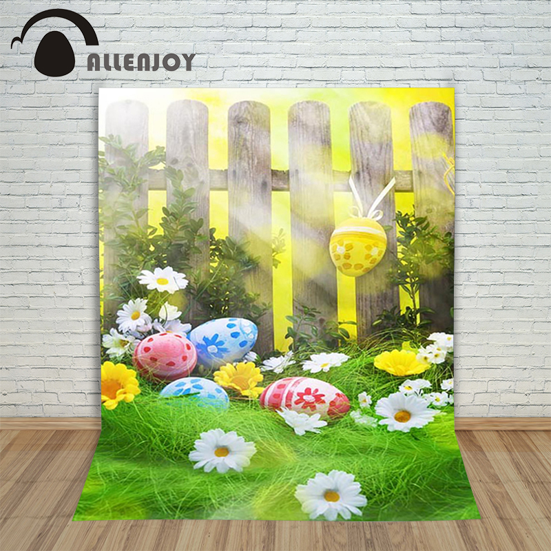 Allenjoy Easter backdrop eggs Fence grass colourful light shiny children backgrounds for photo studio a