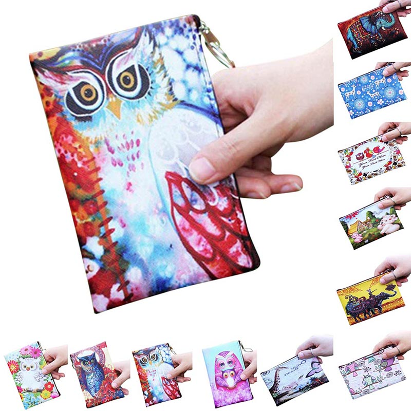 Fashion Women Coin Purse PU Leather Clutch Bag Cartoon Animals Elephant Owl Giraffes Deer Graffiti Lady Girl Wallet WML9