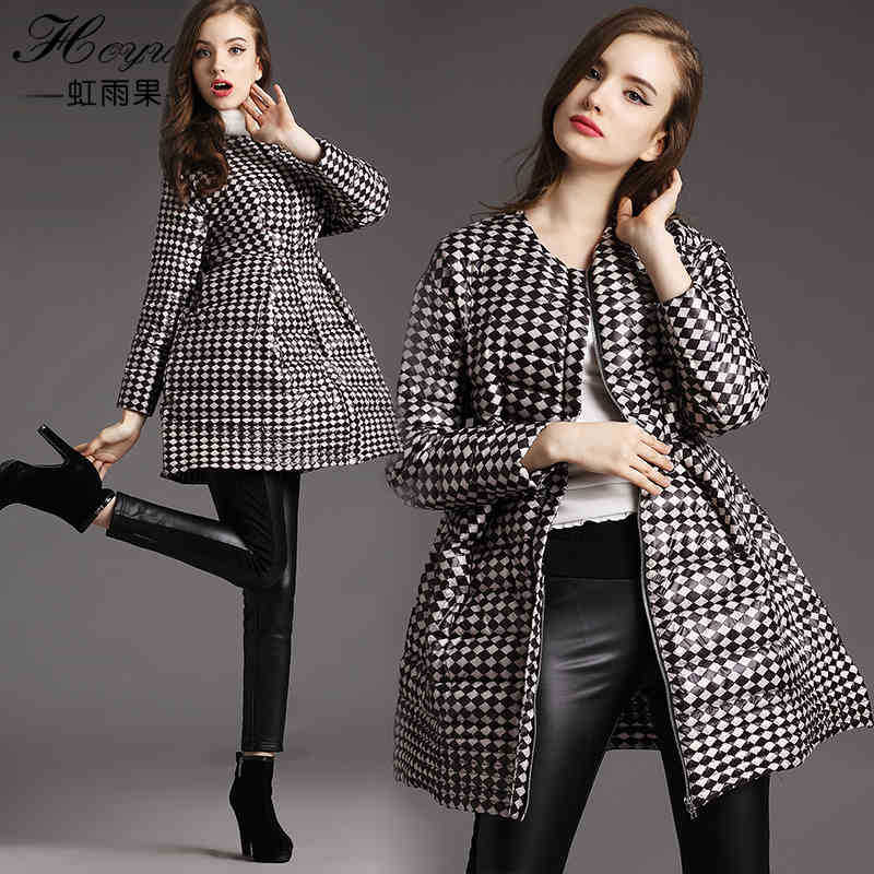 2015 New Hot Woman Down jacket Coat Parkas Outerwear Thicken Warm Luxury Neck Slim Mid Long Plus Size