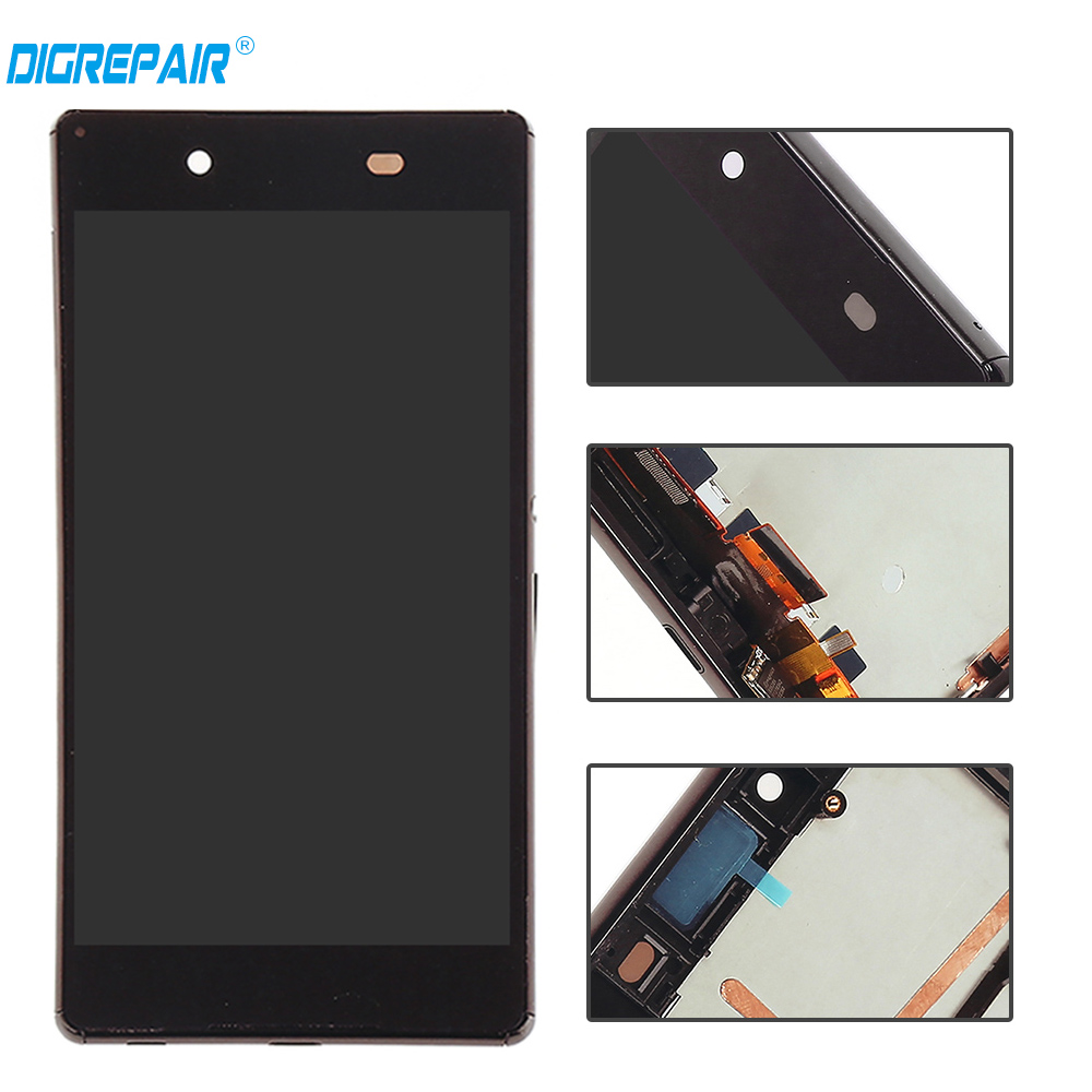 Black For Sony Xperia Z3 Plus Z4 E6553 E6533 LCD Display Touch Screen Digitizer with Bezel Frame Assembly, Free shipping