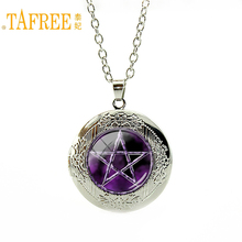 TAFREE Best selling purple Pentagram Pendant Japan Anime Jewelry Occult Charm necklace Glass Cabochon locket pendant N695