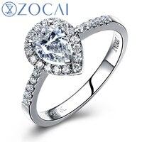 ZOCAI FINE VINTAGE SIDESTONE 0 6 CT NATURAL D E SI PEAR CUT FLOATING HALO DIAMOND